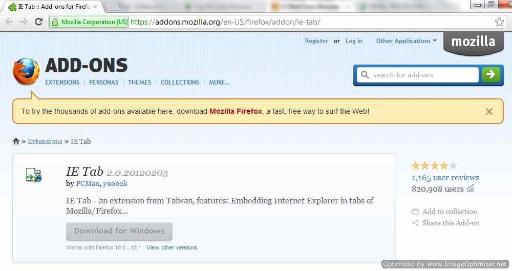 Ie tab for firefox compatible with 3.6.28