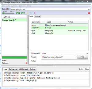 The first test case in Selenium IDE