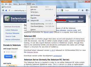 Launch Selenium IDE