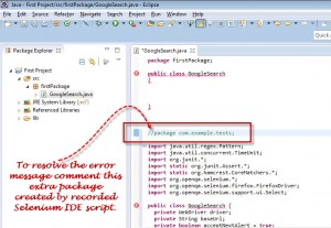 Selenium code comment extra package