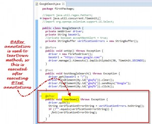 After Annotation Used In Selenium Webdriver