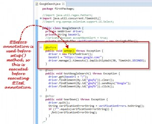 Before Annotation Used In Selenium Webdriver