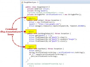 Comment Test Annotation Used In Selenium Webdriver