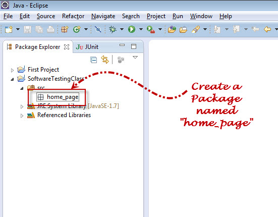 Selenium Wedriver Create New Package