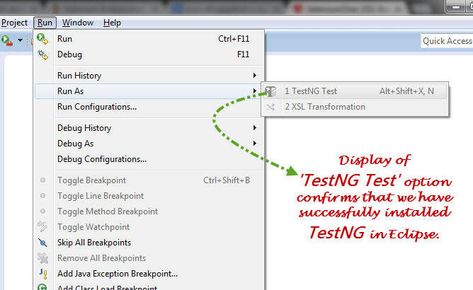Eclipse TestNG Run As Option