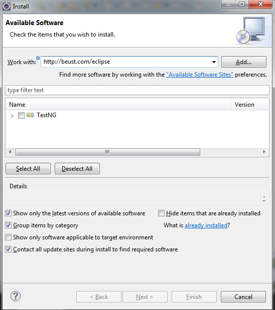 TestNG Eclipse Available Softwares