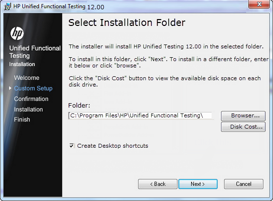 HP Unified Functional Testing 12 Installation Folder