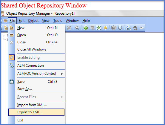 UFT Shared  Repository Window