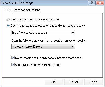 UFT Record and Run Settings dialog