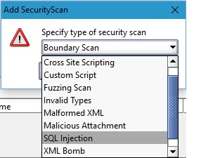 security testing drop down menu