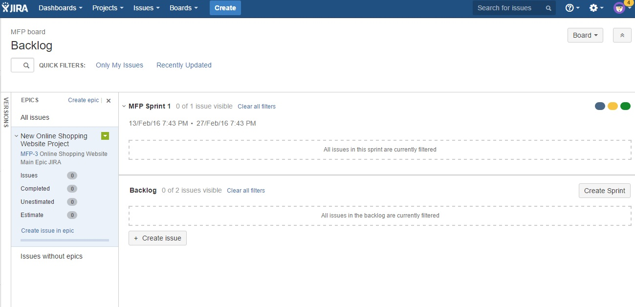 JIRA Sprint screen1