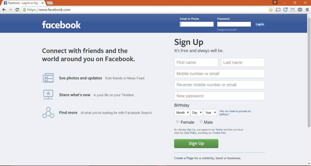 Facebook Login on Chrome