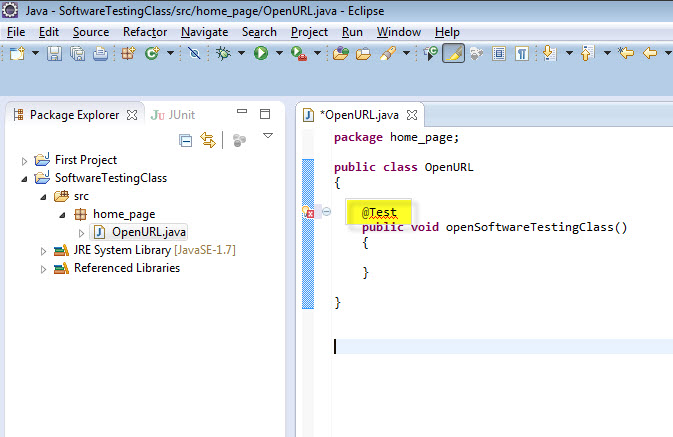 how to write a junit test class in java