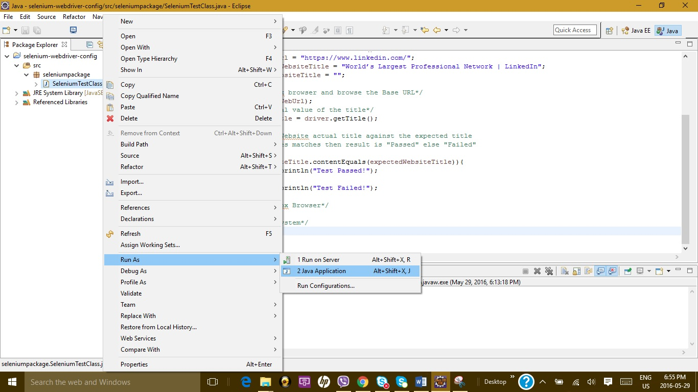 my first project with selenium webdriver « software testing class